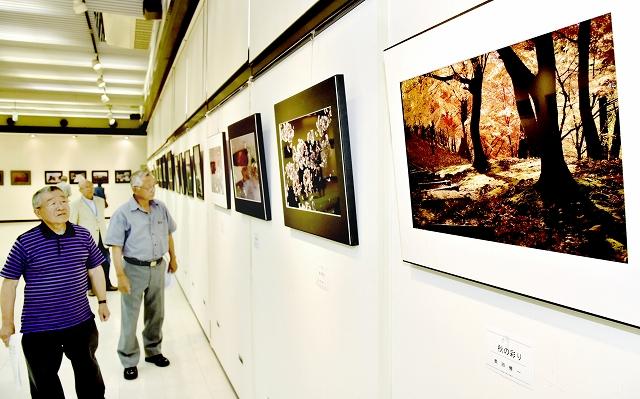 四季の風景など会員の力作が並ぶ写真展=6月13日、福井県鯖江市まなべの館