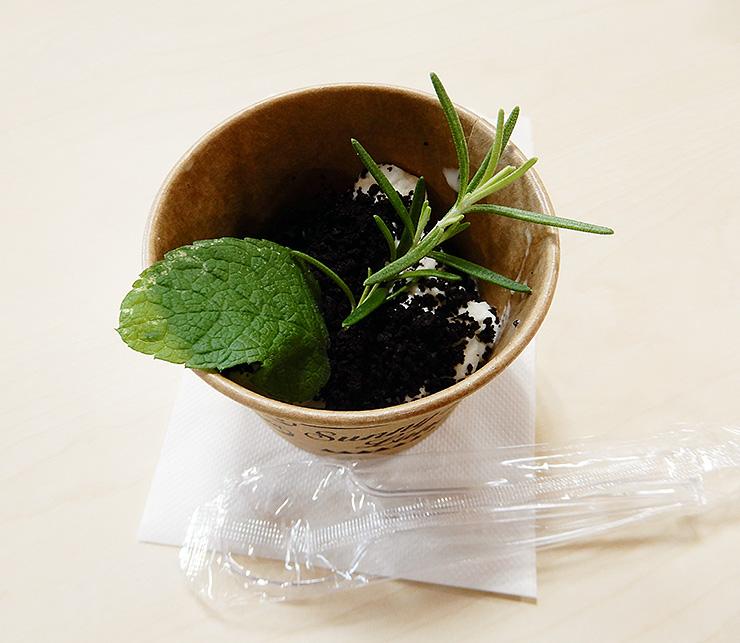 台湾で流行している「盆栽アイス」。器を除き、全て食べられる
