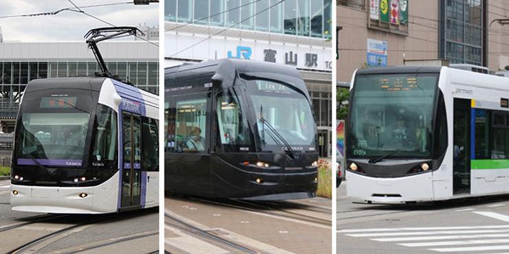 左から富山ライトレールが運行する車両「ポートラム」、市内電車環状線を走る車両「セントラム」、駅南側を走る富山地鉄の車両「サントラム」