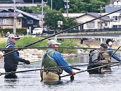 県内、アユ釣り解禁 犀川は水位、水温低く初日低調