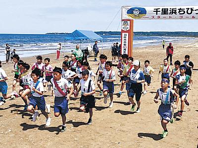 小学生、千里浜力走 2年ぶり「ちびっこ駅伝」