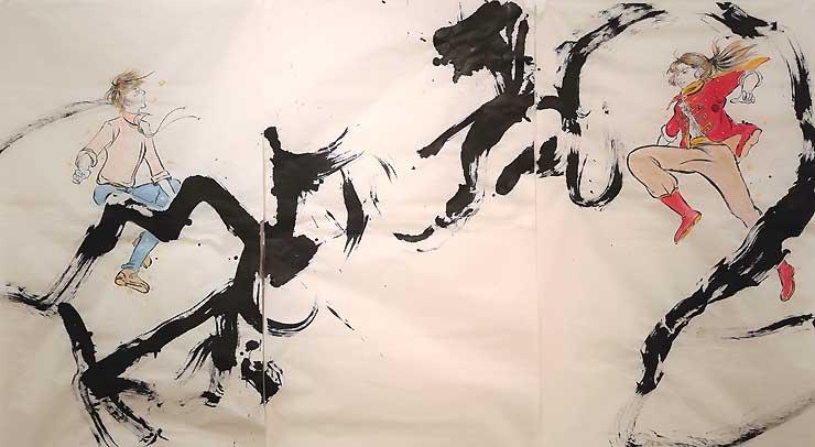 展示する「龍虎〜ふたりの兄弟より〜」。イラストと書道を融合させている