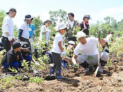海老蔵さん「幸せ」5回目植樹 志賀高原で「ABMORI」