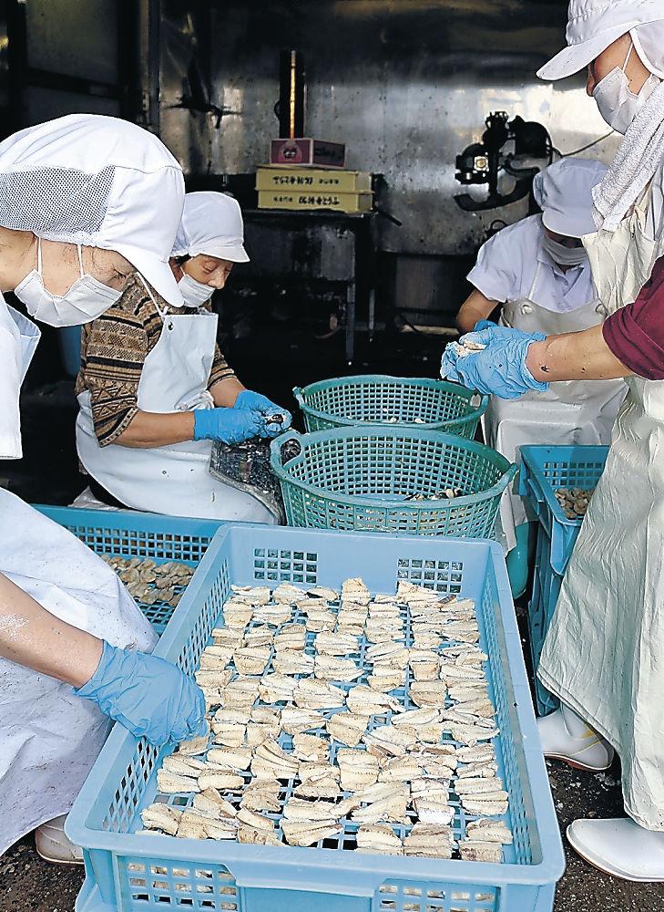 トビウオの切り身を並べて乾燥させる従業員=輪島市門前町道下
