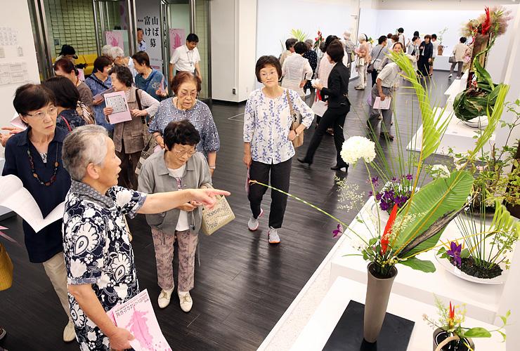 夏らしい作品がそろい、大勢の来場者でにぎわう県いけばな公募展=県民会館