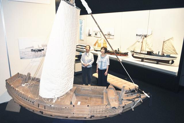 「北前船」の日本遺産追加認定を記念して若狭と船の歴史を紹介しているテーマ展=福井県小浜市の県立若狭歴史博物館
