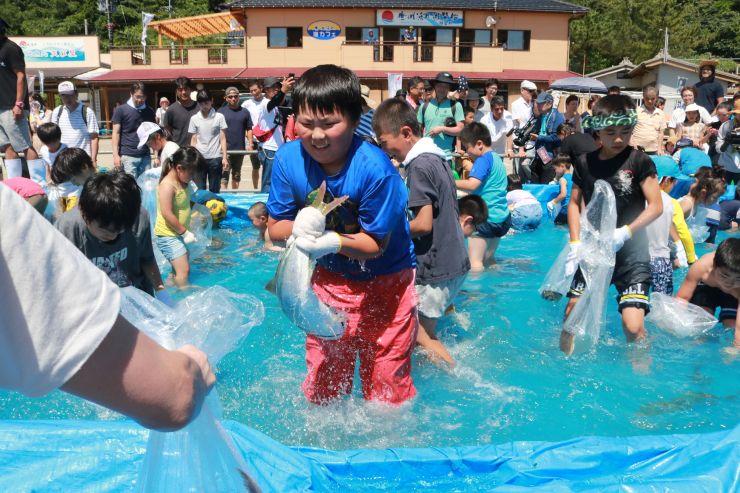 歓声を上げながら生きのいい魚を追いかける子どもたち=7月1日、村上市桑川