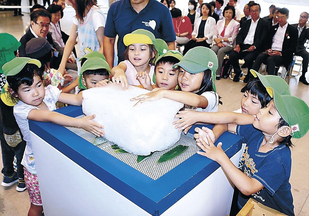 雪氷に触れる園児=東京・目黒区役所