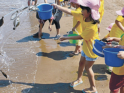 ヒラメ「元気に育ってね」 かほく、園児が稚魚放流