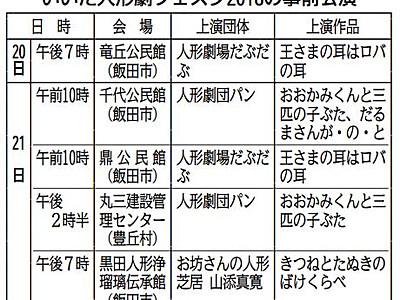「人形劇フェスタ」事前公演 飯田と豊丘で20・21日