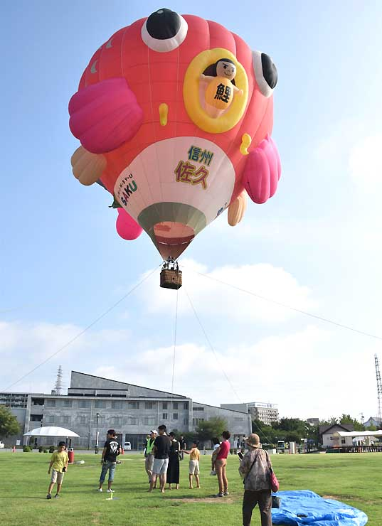 参加者を乗せて空に浮かぶ熱気球「佐久の鯉太郎」