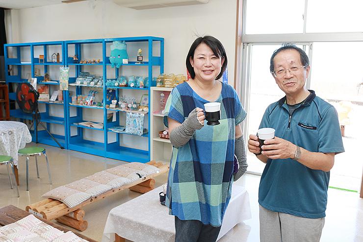 「名水珈琲」を提供する休憩コーナー