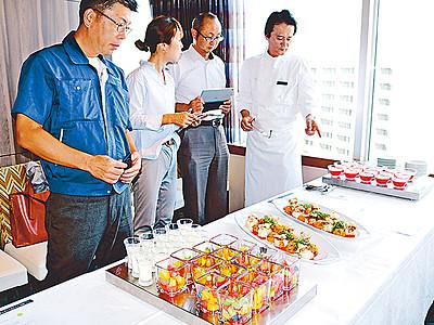 バイ貝とジャンボ西瓜でコース料理 富山エクセルホテル東急