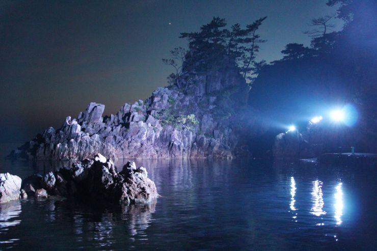 夜空を背景に岩肌が浮かび上がる尖閣湾揚島遊園の海辺