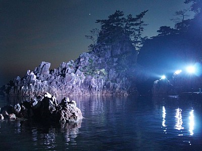尖閣湾 佐渡北狄・揚島遊園 8月26日までライトアップ
