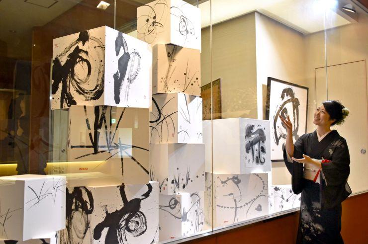 作品について語る泉田佑子さん=長岡市島崎の良寛の里美術館