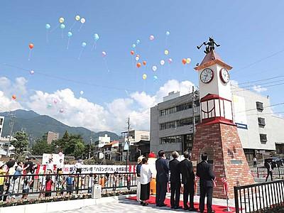 飯田の新人形時計塔、披露 3日のフェスタ開幕に合わせ