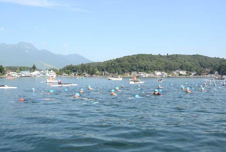 妙高山(左奥)を横目に隊列を組んで泳ぐ参加者たち