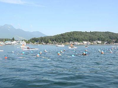 老若男女、エンヤーコーリャ 野尻湖一周91人遠泳大会