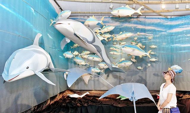 海の生物のペーパークラフト作品が並ぶ会場=8月6日、福井県福井市中央1丁目のふくい工芸舎