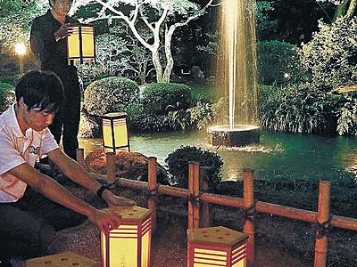 行灯の涼 金沢城公園と兼六園、10日からライトアップ