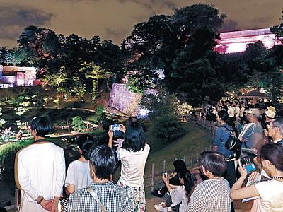 夏の夜の光、名園照らす 金沢城・兼六園