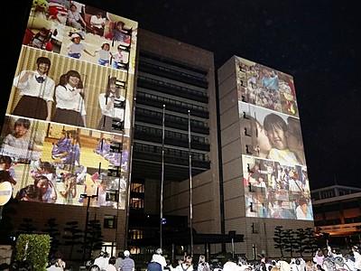 福井の魅力、県庁に映像投影 福井国体向け先行公開