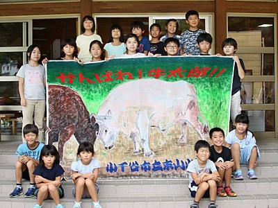 小千谷東山小 世話する闘牛の応援旗制作 9月場所で披露