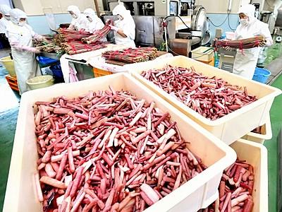 芋茎の酢漬け「すこ」いかが 特産地・大野で製造ピーク