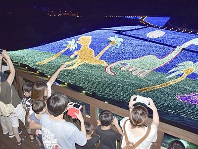 勝山ジオ・イルミネーション好調 1カ月半で5万人突破
