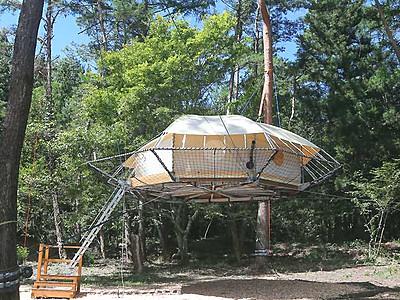 「手ぶら」キャンプ楽しんで 松川町「ツリードーム」開業