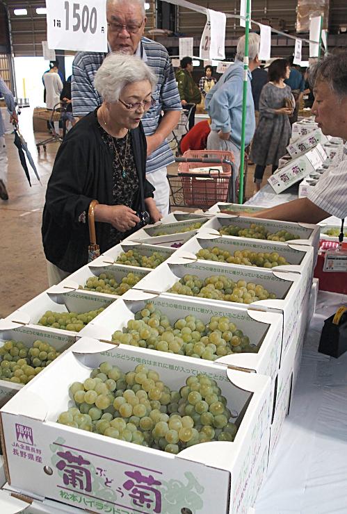 県内外の客がブドウを買い求めた「東山部くだものまつり」