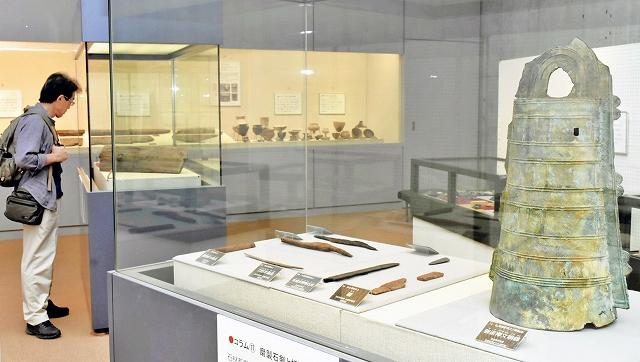 三方五湖周辺の弥生時代の遺物などを展示している企画展=9月19日、福井県若狭町の若狭三方縄文博物館