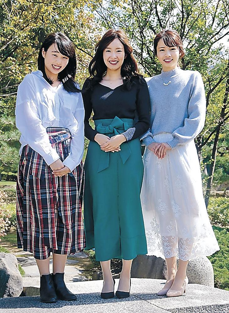 こまつ姫御前に決まった北出さん(中央)、地井さん(右)、新谷さん(左)=小松市内