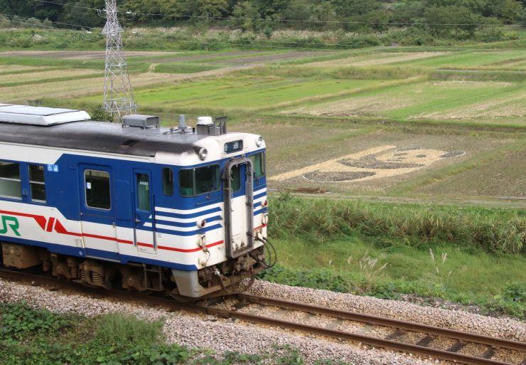 田んぼアートの脇を通過するJR只見線の列車=9日、魚沼市三渕沢