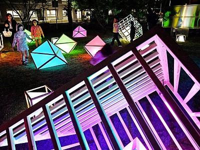 福井大学照らす光のオブジェ 文京キャンパス、学生演出
