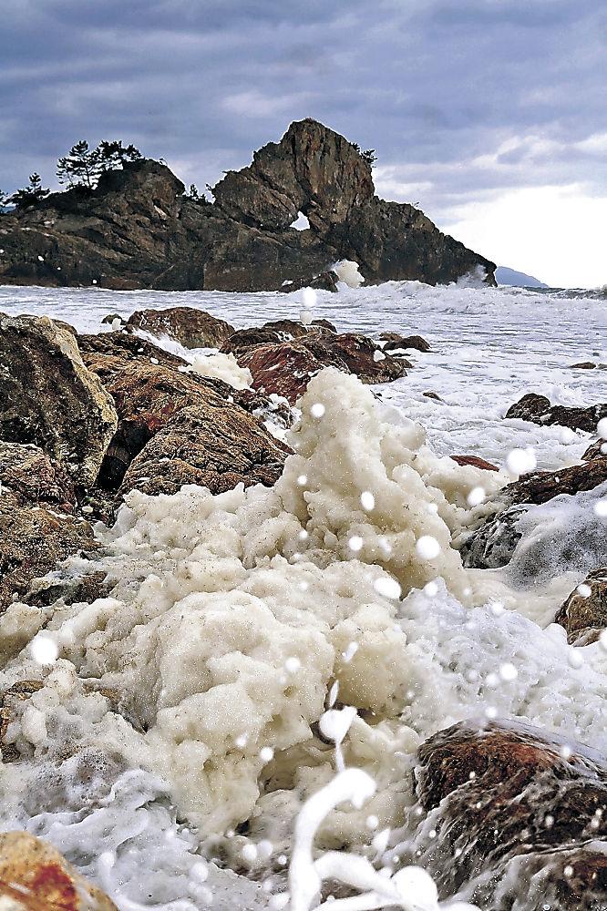 窓岩の前に漂う波の花=輪島市町野町曽々木