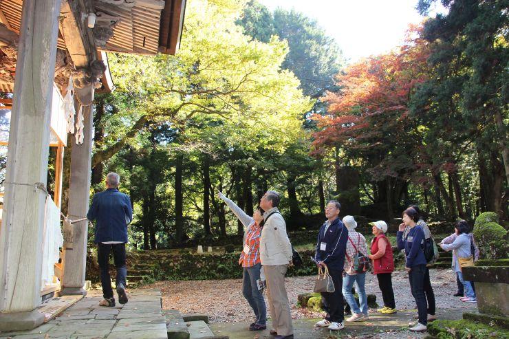 栃尾地域の寺社を巡るバスツアーで羽黒神社を訪れた参加者=長岡市小貫