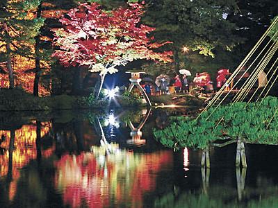 紅葉、闇に浮かぶ 金沢城・兼六園ライトアップ