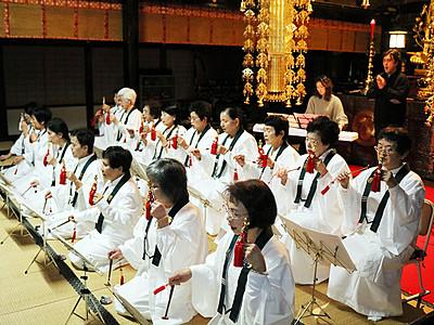 氷見・大栄寺の御詠歌隊とコラボ 14日、歌手・澤武さん