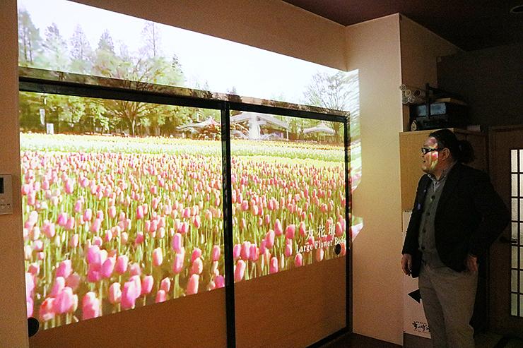 となみチューリップフェアの映像を壁とふすまに投影する高田支配人