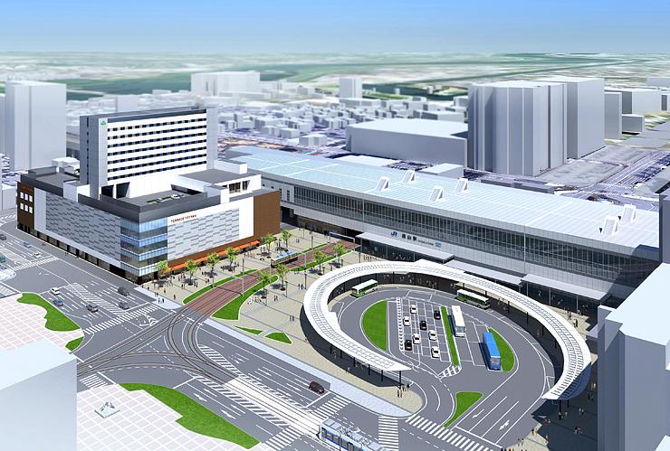 複合ビルが完成した後の富山駅南口のイメージ図