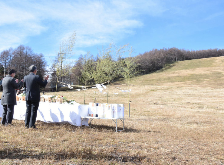 湯の丸スキー場で開いた安全祈願祭