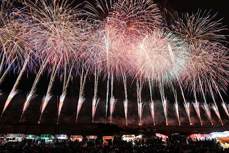 初冬の夜空を色とりどりの花火が彩った第113回長野えびす講煙火大会=23日午後7時52分、長野市の犀川河川敷