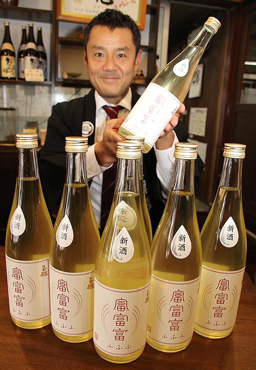 富富富を使った純米生原酒を紹介する玉生社長