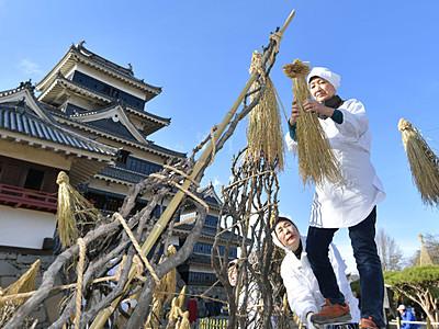 松本城に冬の装い 庭園で冬囲い