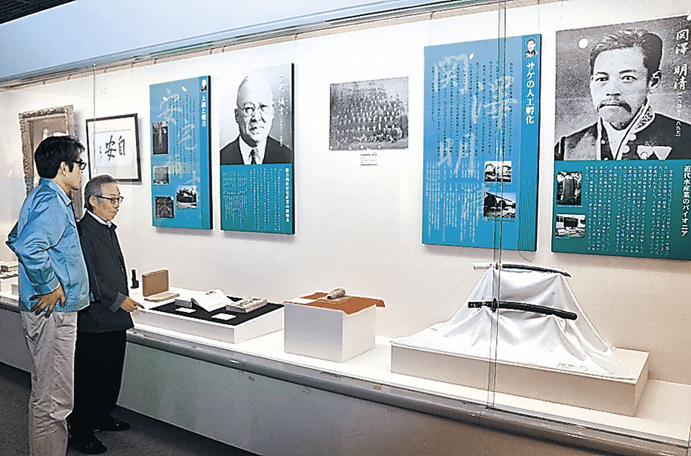 新設コーナーの展示品を確認する職員=金沢ふるさと偉人館