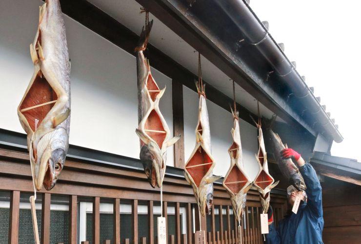 軒先につるされ、寒風にさらされる塩引きザケ=30日、村上市
