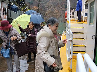 大牧温泉航路が再開 庄川遊覧船、豪雨被害から5カ月