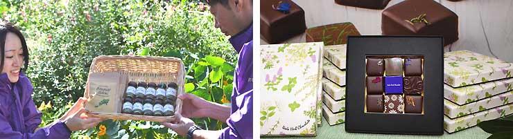 池田町ハブセンターが8日に発売する「スイートハーブチョコレート」(写真右)、20日に発売するハーブミックスとブーケガルニ(同左)